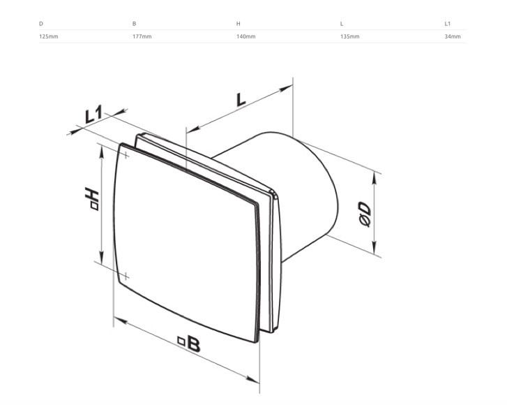 Contemporary Slimline Exhaust Fan 125mm / 2 Finishes