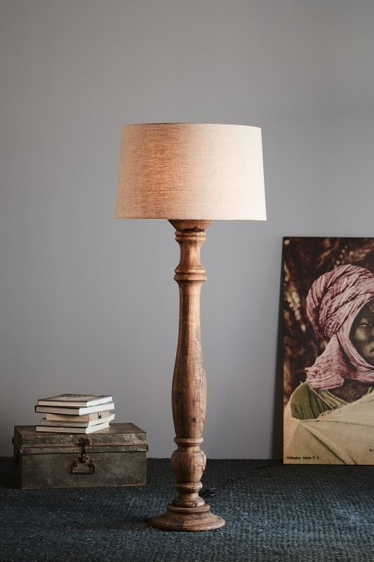 Candela large turned wood candlestick floor lamp weather barn c aloadofball Image collections