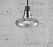 Danish Curved Smoked Glass Pendant Light 20
