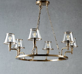 Brass & Glass 6 Arm Chandelier