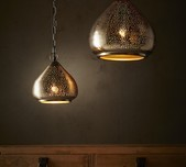 Perforated Raindrop Pendant Light - Nickel / 2 Sizes