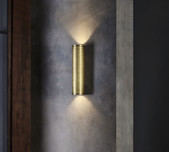 Brass Cylinder Up/Down Wall Light