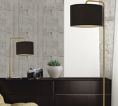 Gold & Black Shade Floor Lamp