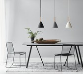 Modern Danish Timber Top Pendant Light / 3 Finishes