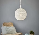 Perforated Round Pendant Light - White