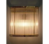 Ribbed Glass Curved Wall Sconce