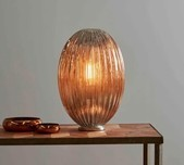 Ribbed Glass Pod Table Lamp / 2 Sizes / 2 Colours