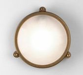 Round Antique Brass Coastal Wall Light
