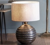Round Bronze Table Lamp Base / 4 Shade Selections