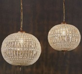 Round Crystal & Brass Pendant Light / 5 Sizes