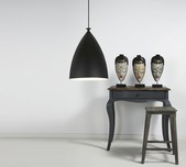 Scandinavian Black Dome Pendant Light 22