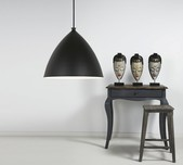 Scandinavian Black Dome Pendant Light 35