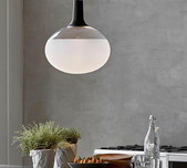 Scandi Round Frosted Glass Pendant / 2 Finial Finishes