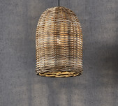Wicker Bell Hanging Lamp