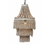 Wooden Beaded White Chandelier